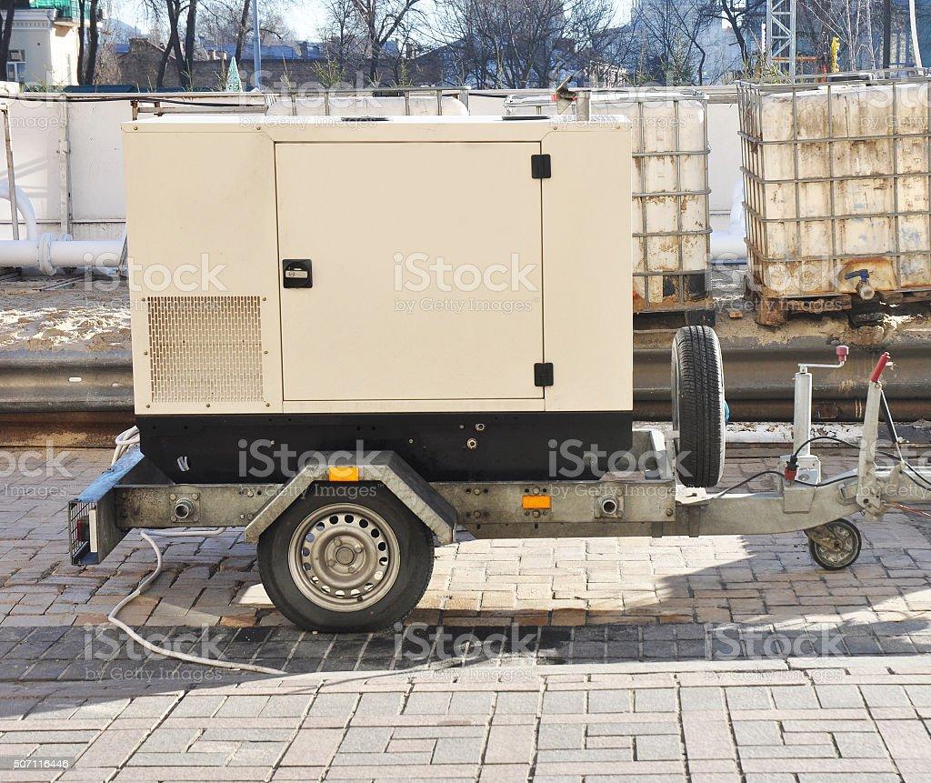 Mobile Diesel Backup Generator stock photo
