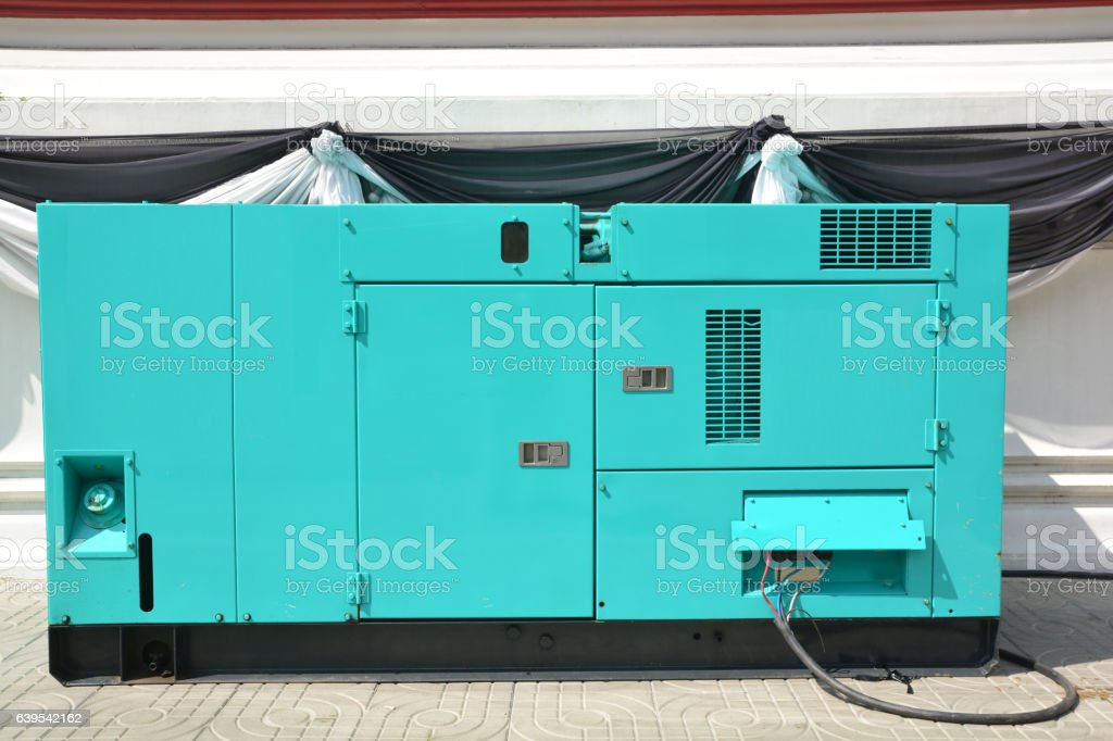 Mobile diesel generator for emergency electric power use for outdoor stock photo