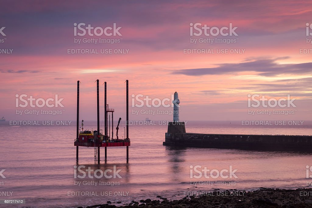 Mobile Drilling Rig at sunrise stock photo