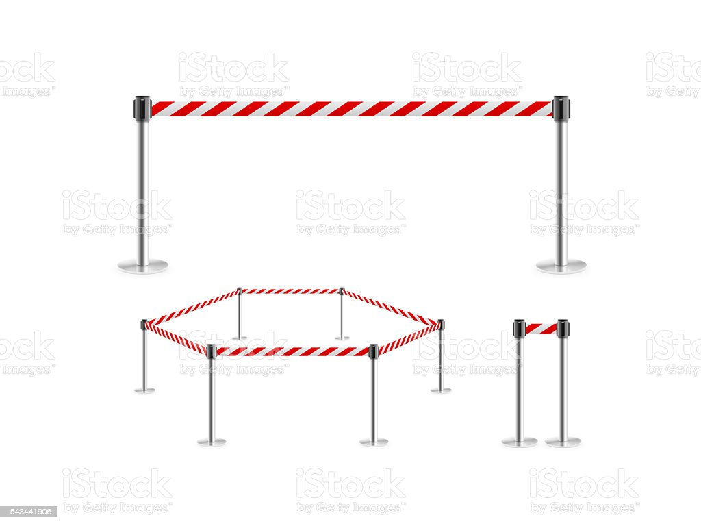 Mobile fence barrier red white belt stand isolated, 3d illustration. stock photo