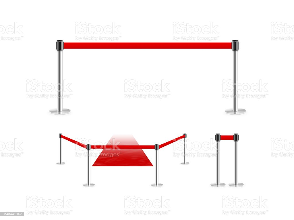 Mobile fence barrier with red belt and velvet carpet stand stock photo