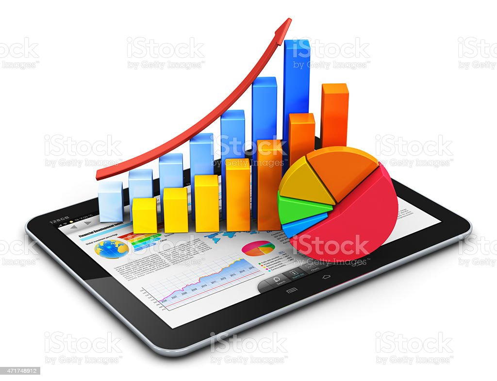 Mobile finance, accounting and statistics concept stock photo