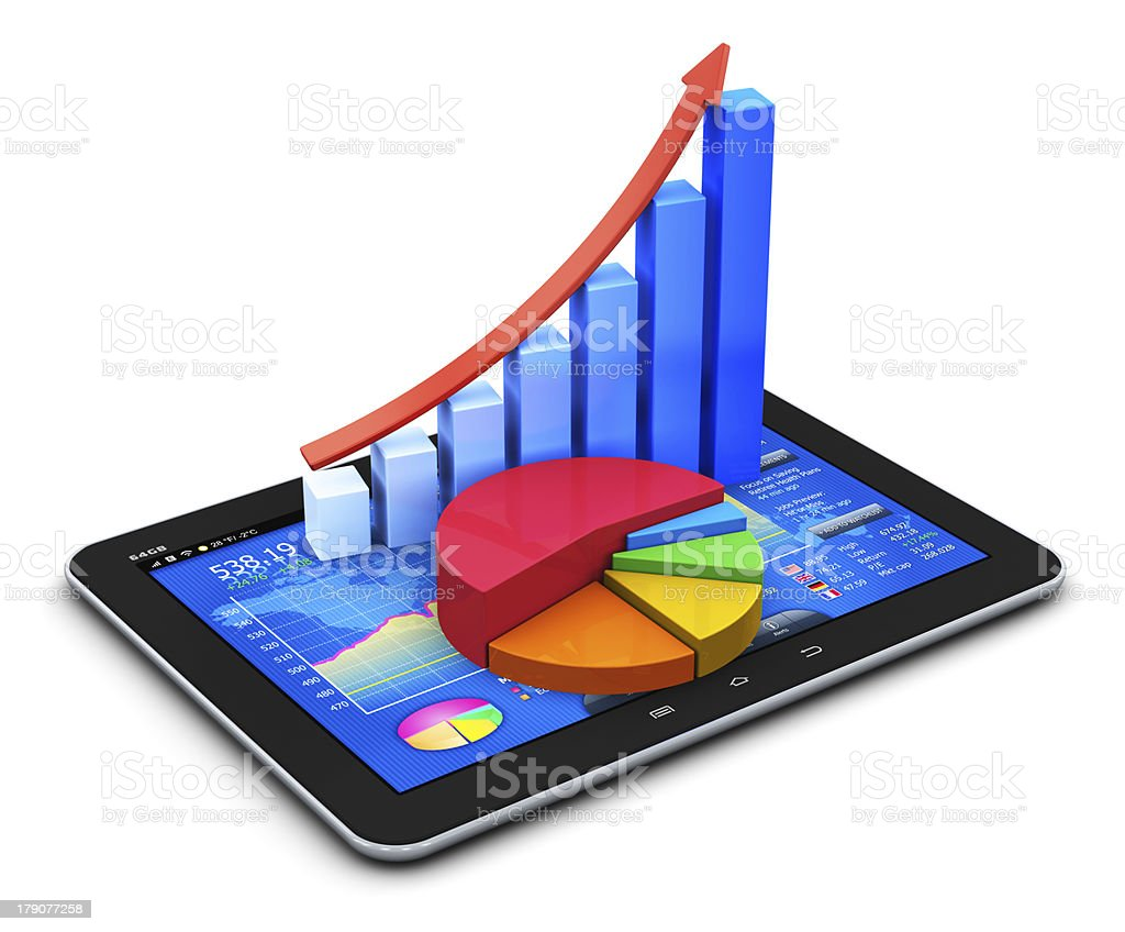 Mobile finance and statistics concept stock photo