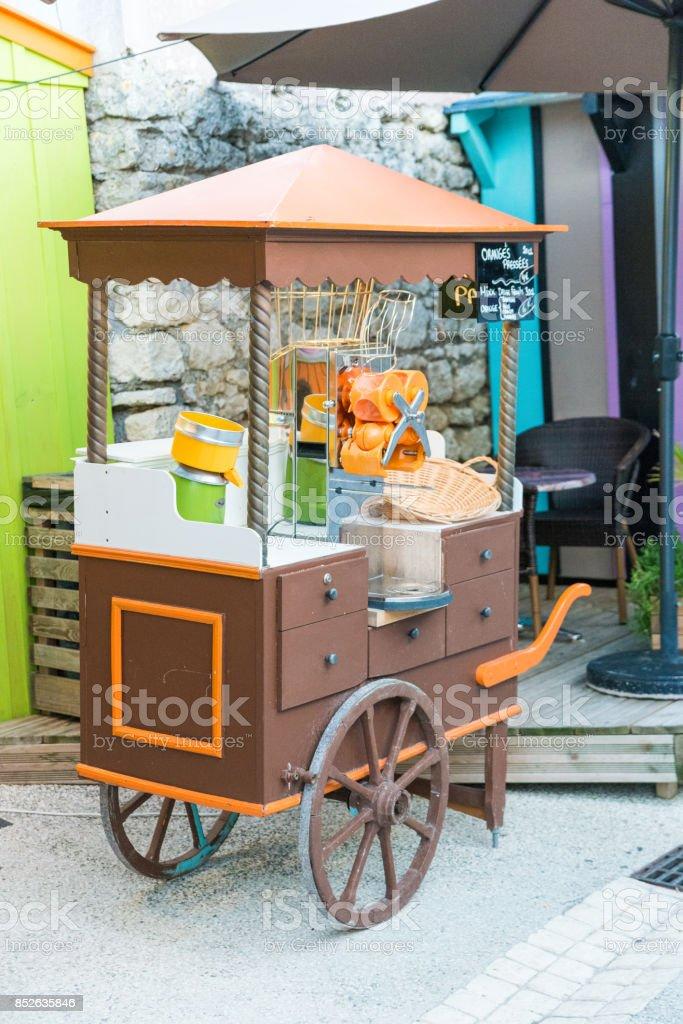 mobile fresh pressed orange juice wagon stock photo