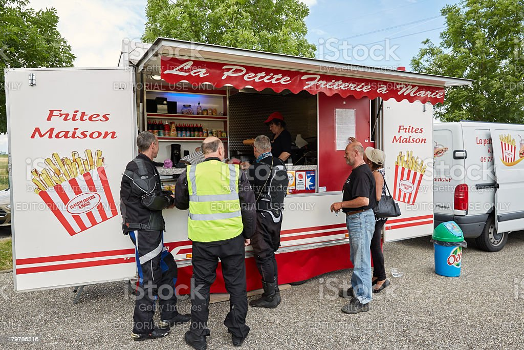 Mobile friterie at roadsie stop in France stock photo