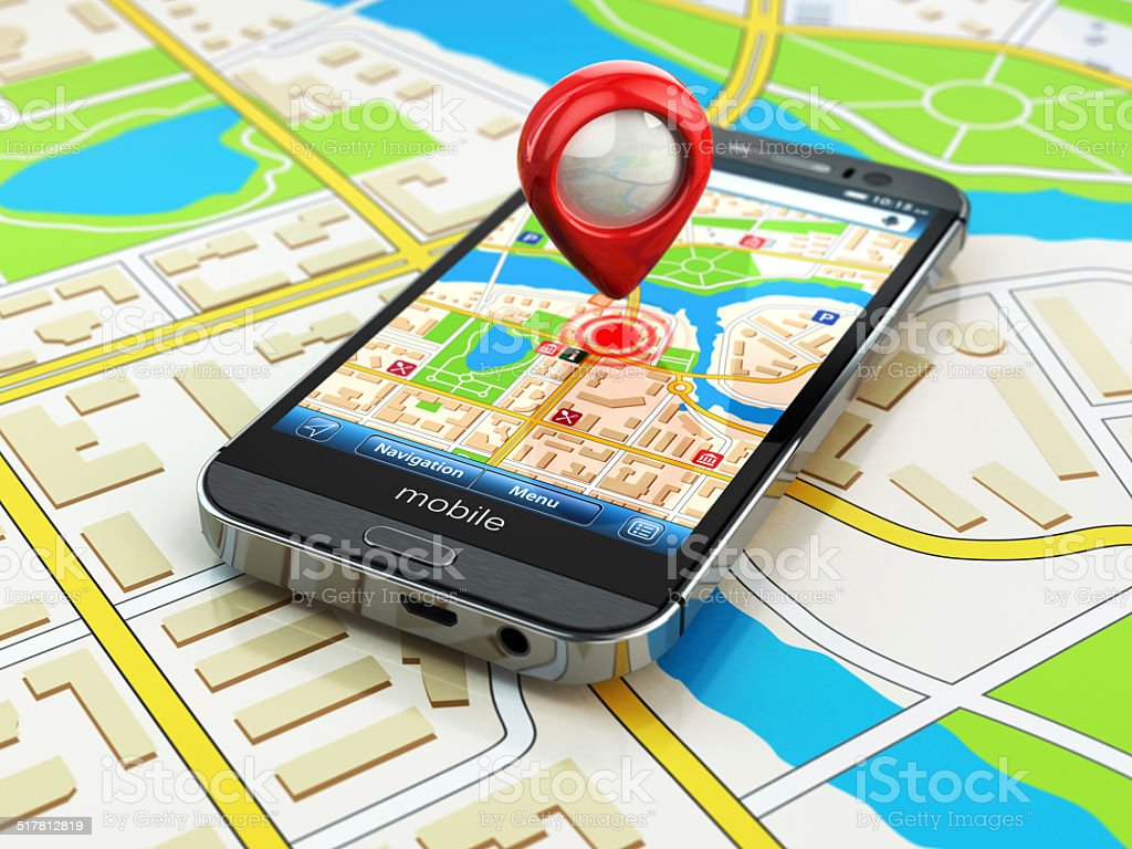 Mobile GPS navigation concept. Smartphone on map of the city, stock photo