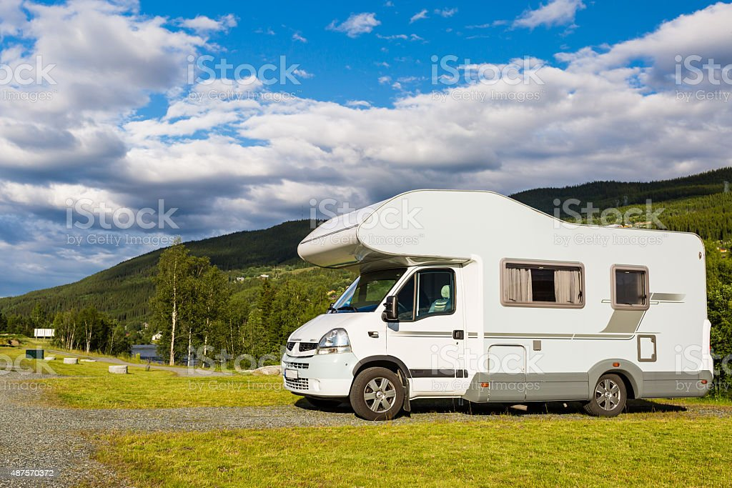 Mobile home at campsite stock photo