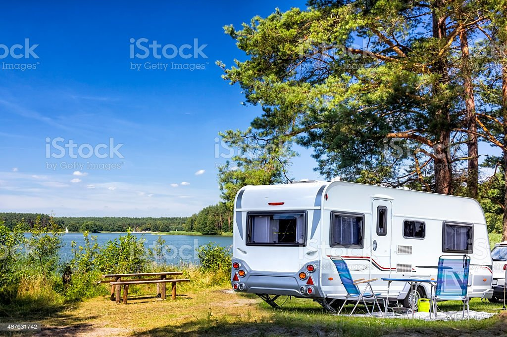 Mobile Home at the lake stock photo