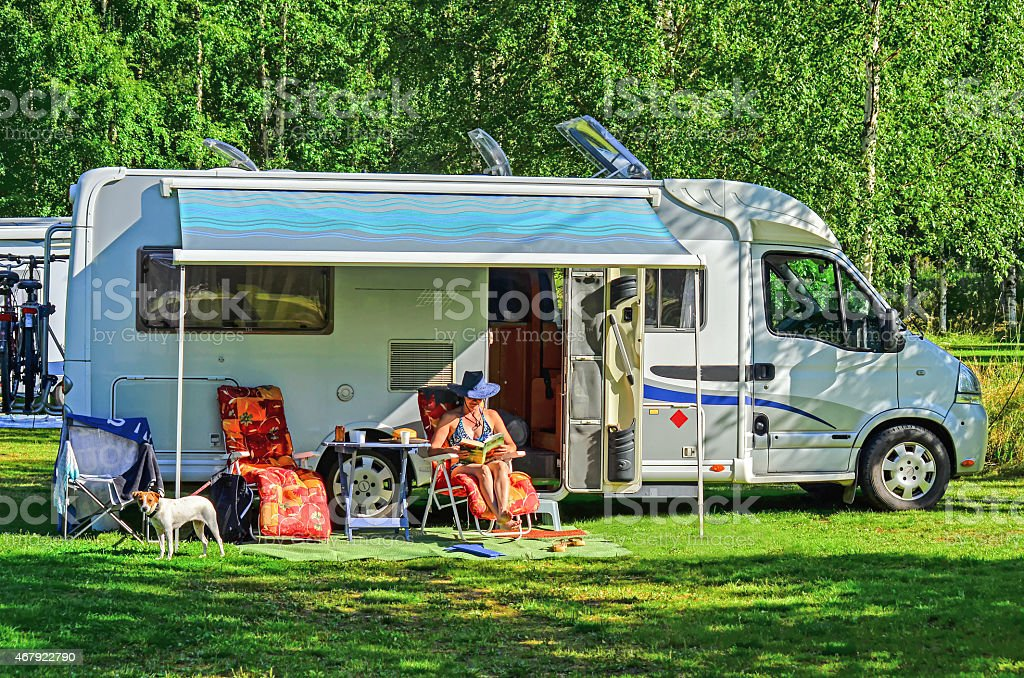 Mobile home in caravan area stock photo