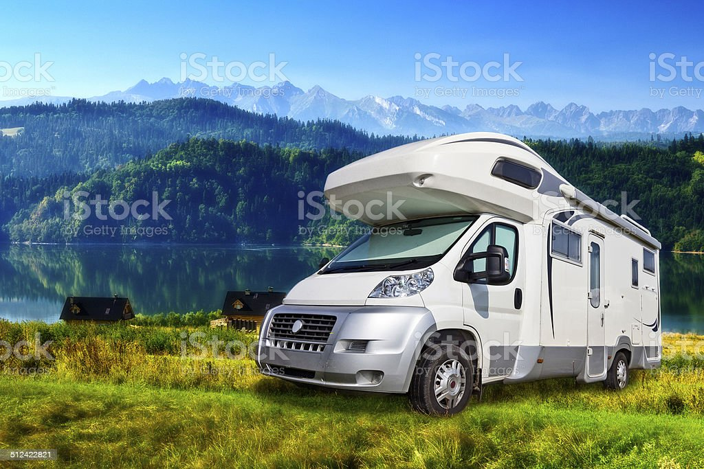 Mobile Home in the mountains stock photo