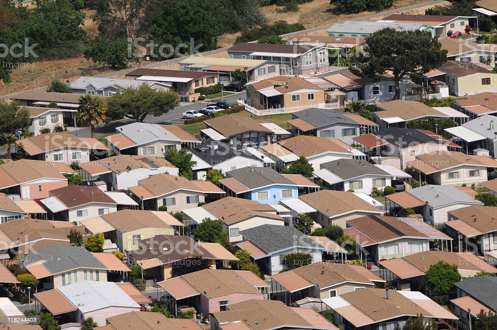 mobile home park aerial view in California royalty-free stock photo