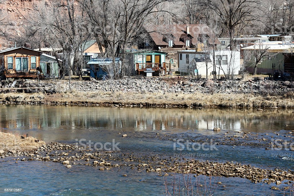 Mobile Home Park next to a River stock photo