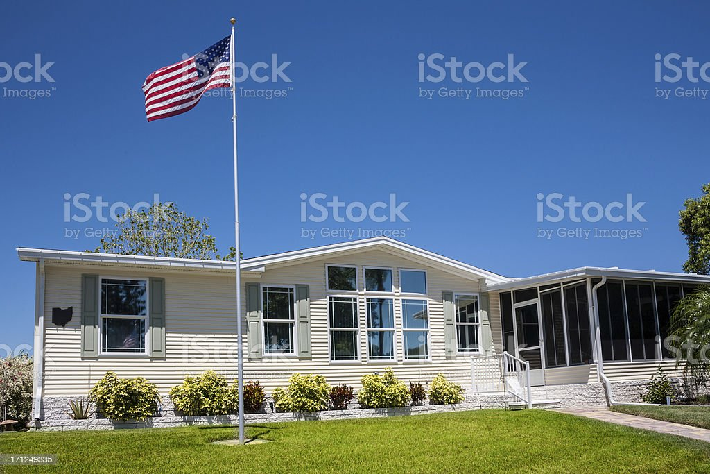 Mobile Home with American Flag stock photo