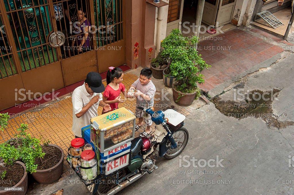 Mobile ice cream stall on street stock photo