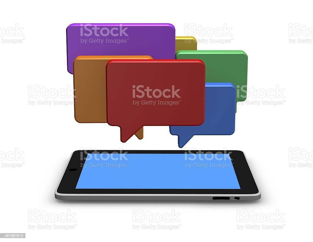 mobile internet communication concept illustration with chat bubbles royalty-free stock photo
