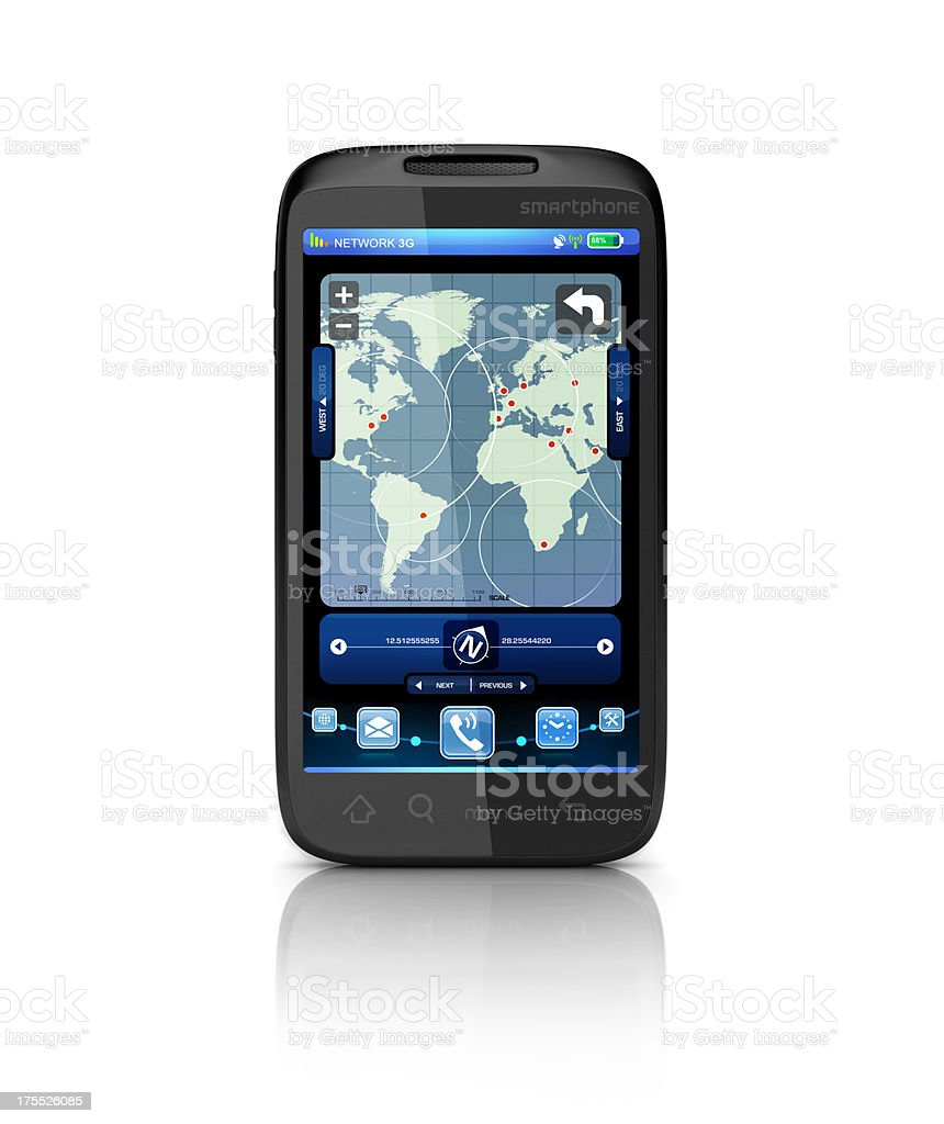 mobile mapping and gps device stock photo