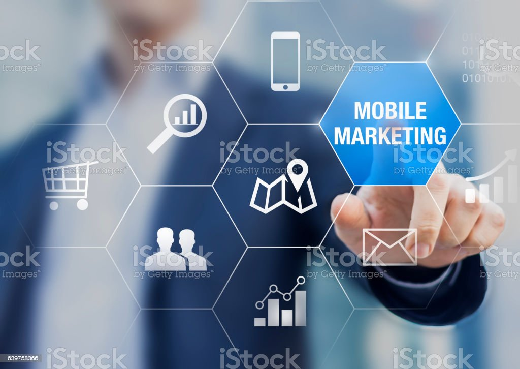 Mobile marketing and e-commerce data analytics concept with business person stock photo