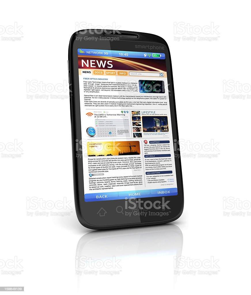 mobile news webpage stock photo