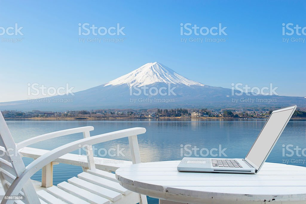 Mobile office at Mount Fuji stock photo