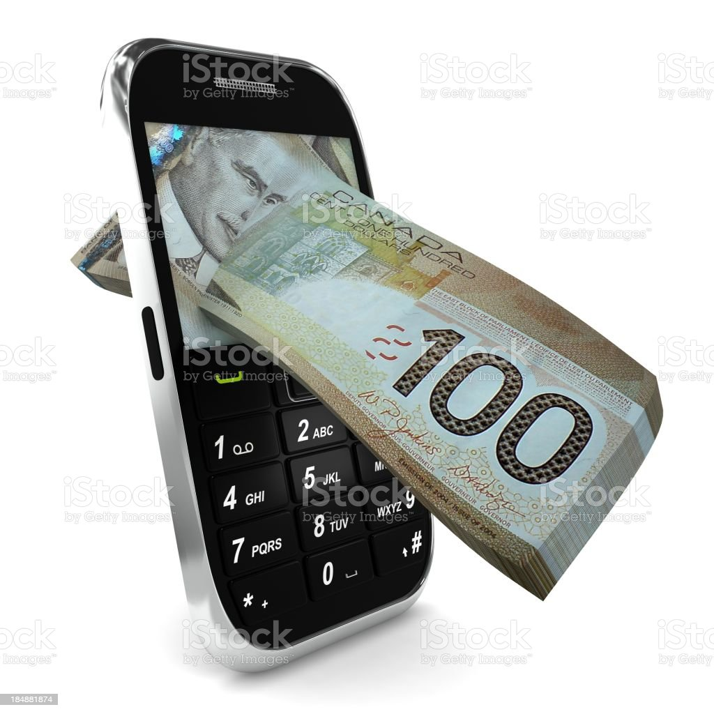 Mobile Payment - Canadian Dollar royalty-free stock photo