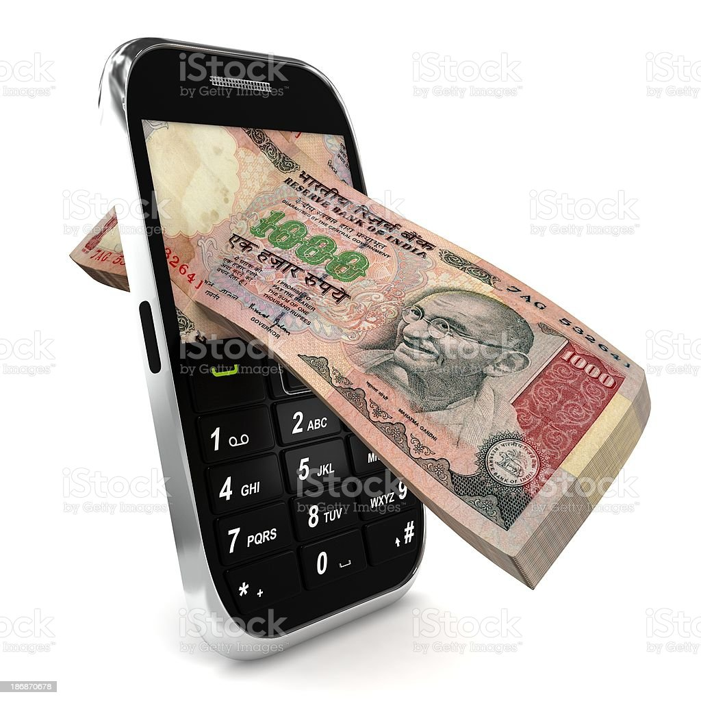Mobile Payment - Indian rupee stock photo