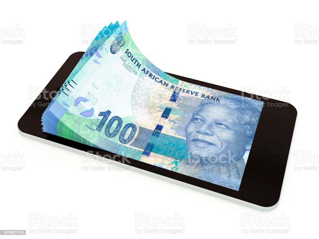 Mobile payment with smart phone; South Africa rand vector art illustration