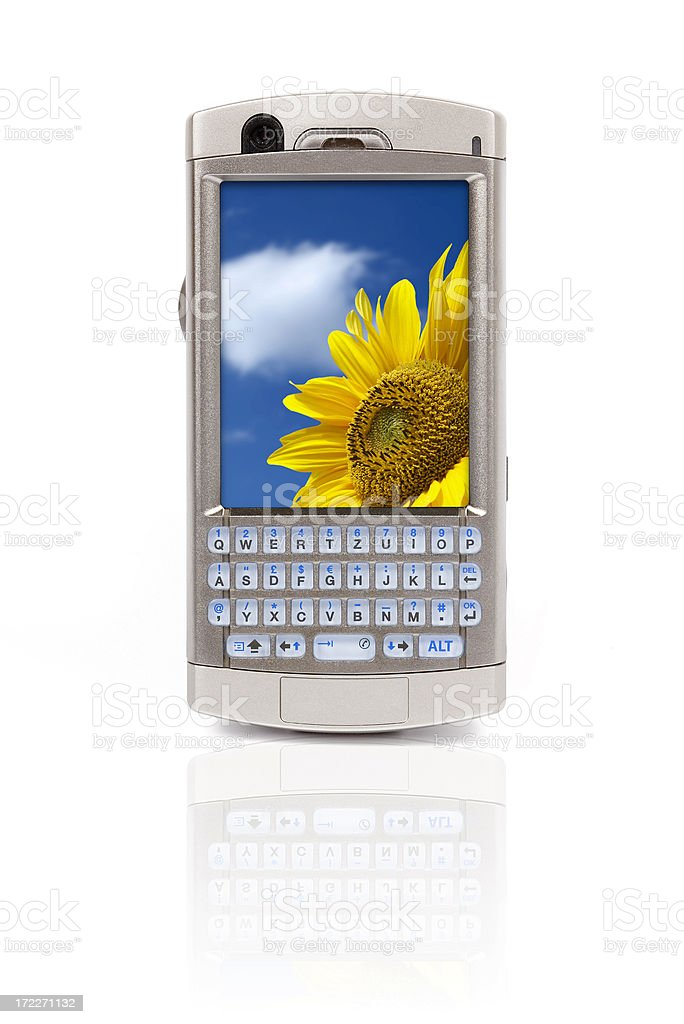 Mobile PDA phone (clipping path), isolated on white background royalty-free stock photo