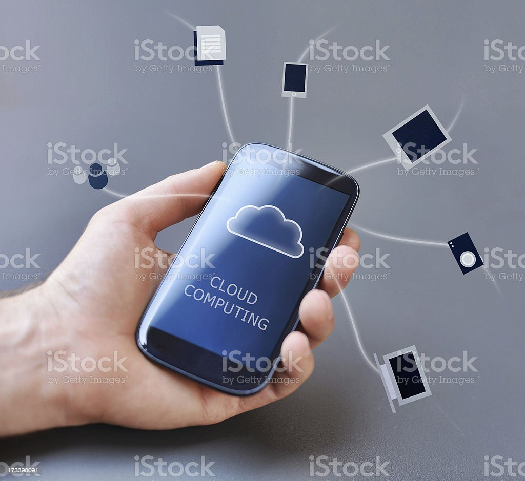 Mobile Phone and Cloud Computing royalty-free stock photo