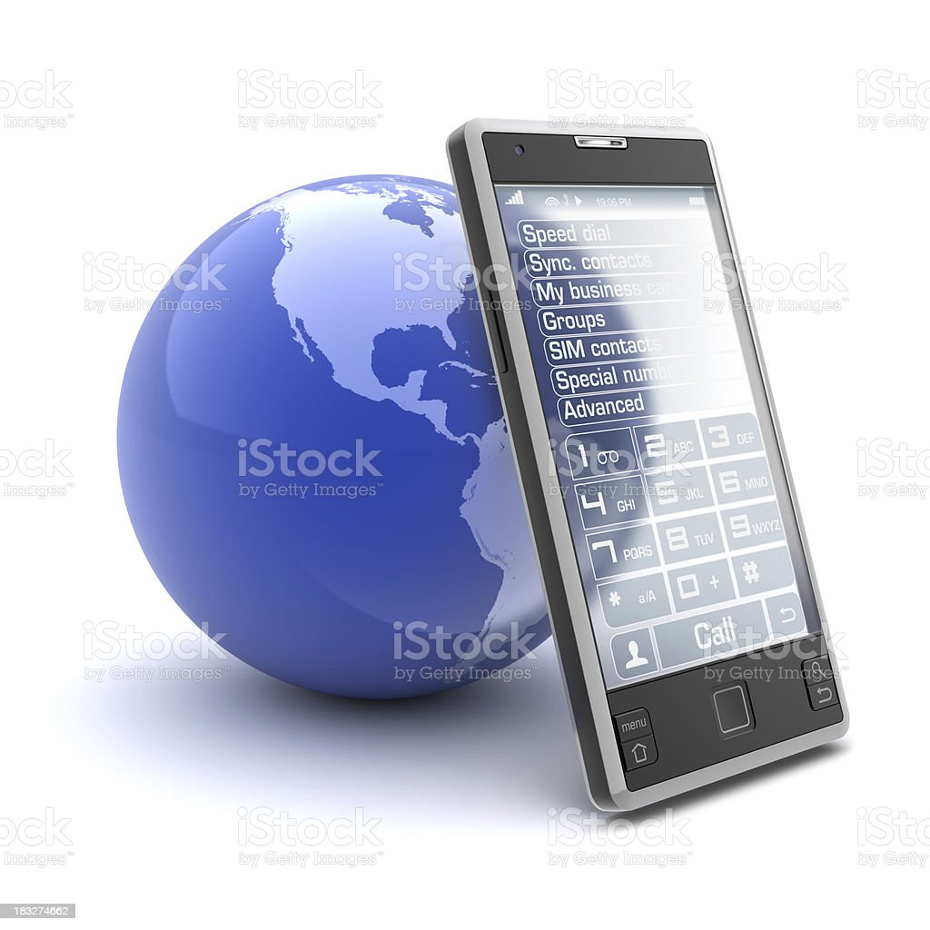 mobile phone and earth royalty-free stock photo