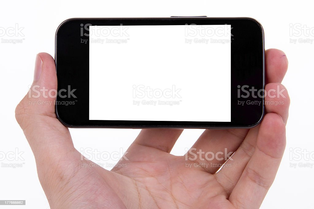 Mobile Phone and Hand stock photo