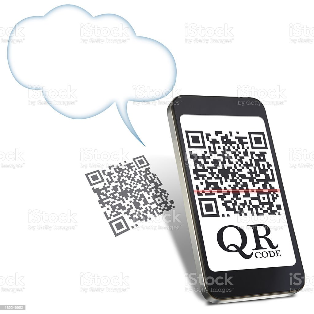 Mobile phone and qr code stock photo