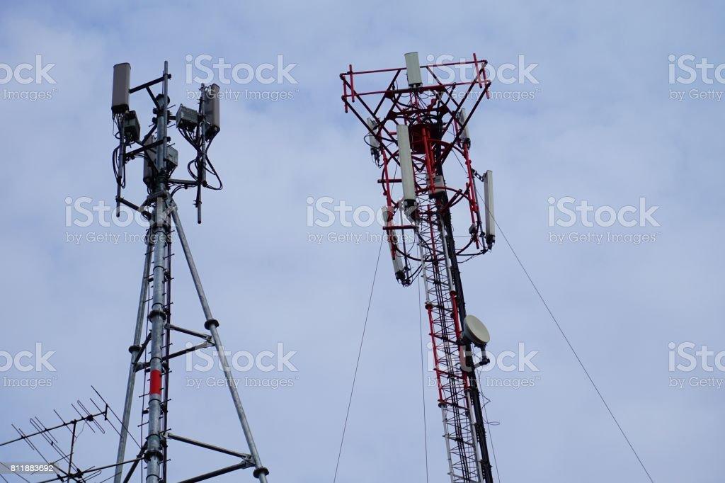 Mobile phone antennas stock photo