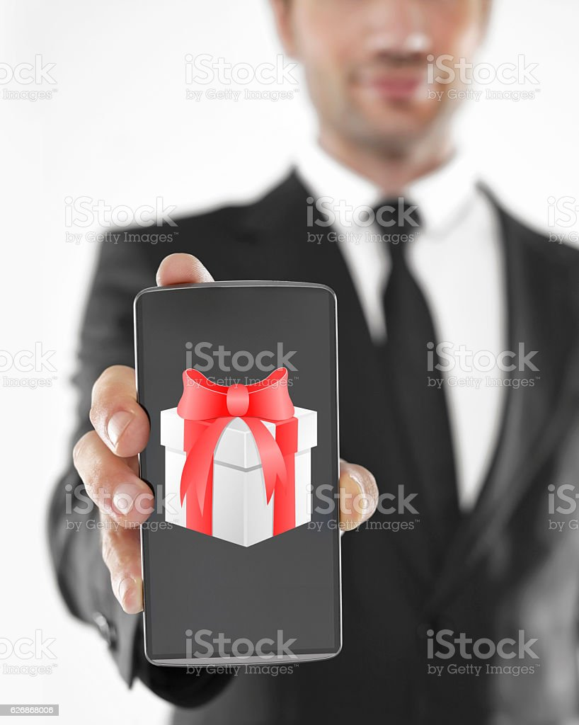 mobile phone as a gift stock photo