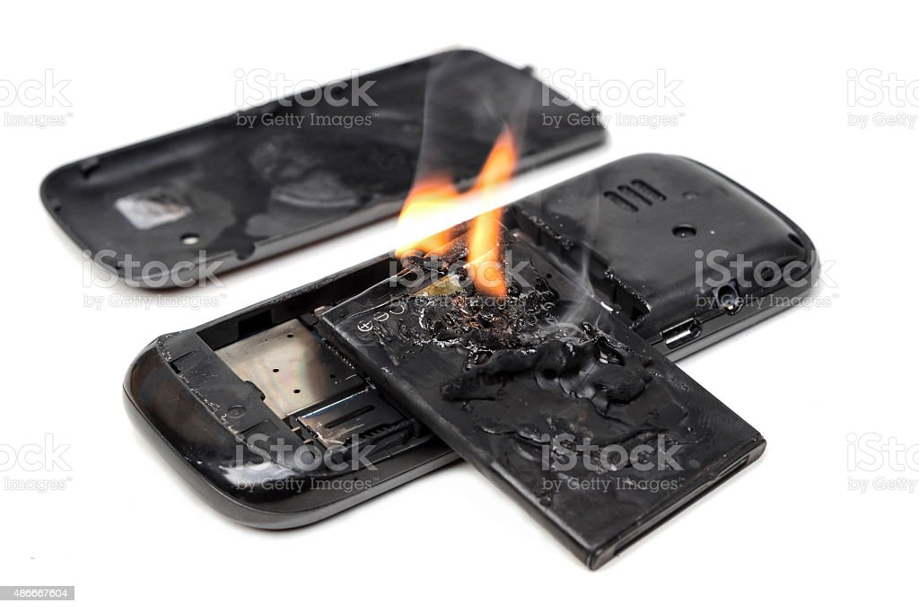 mobile phone battery explodes stock photo
