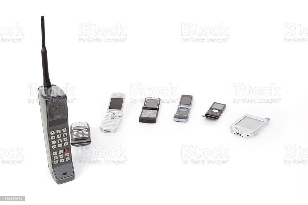 Mobile phone evolution stock photo