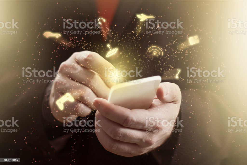 Mobile Phone Gaming stock photo