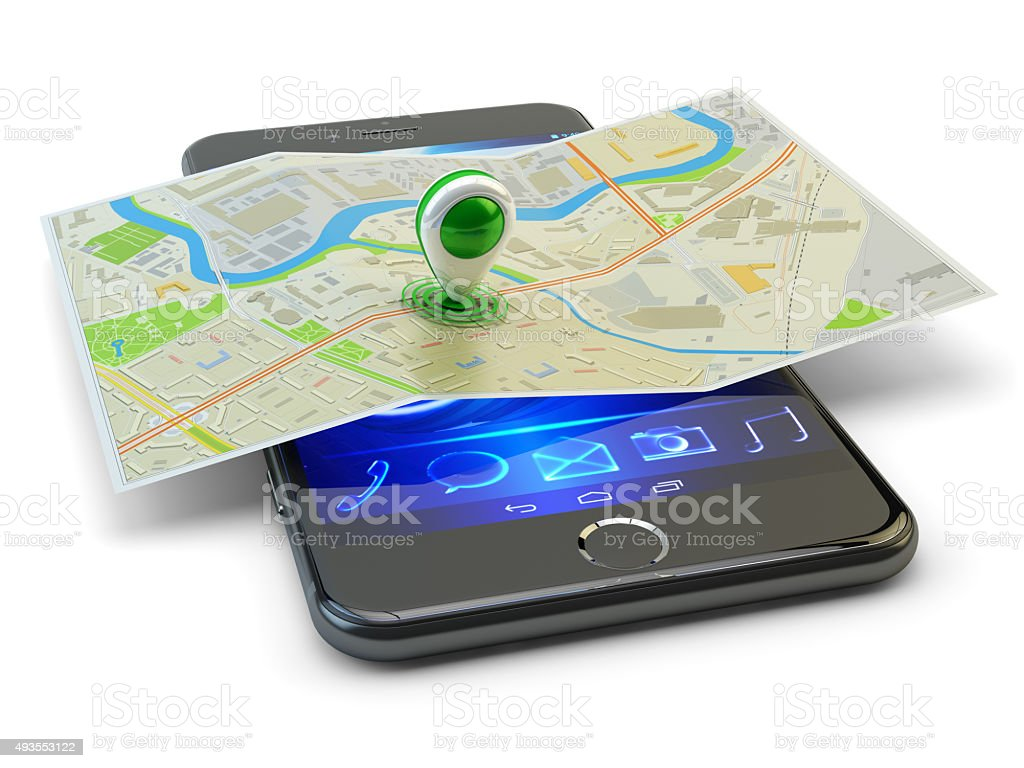Mobile phone gps navigation, travel destination, location and positioning concept stock photo