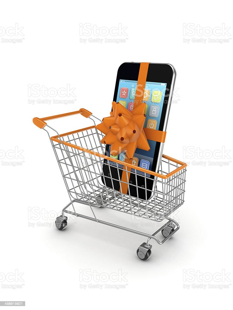 Mobile phone in a shopping trolley. royalty-free stock photo