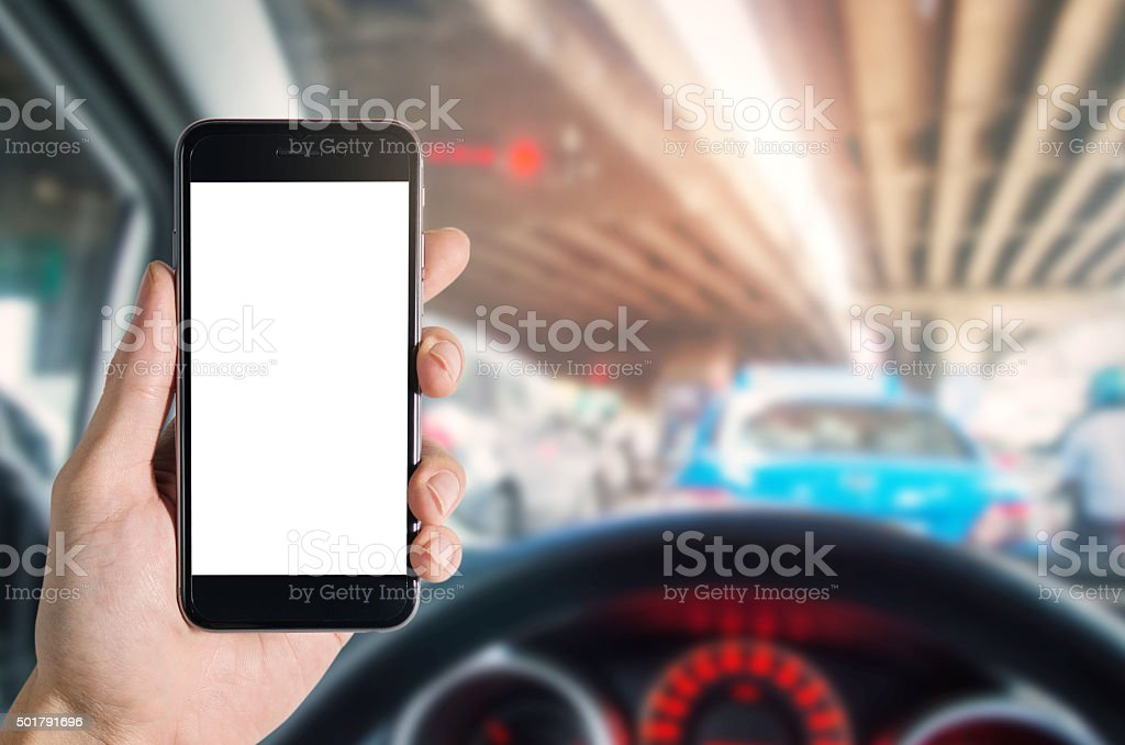 mobile phone in car stock photo