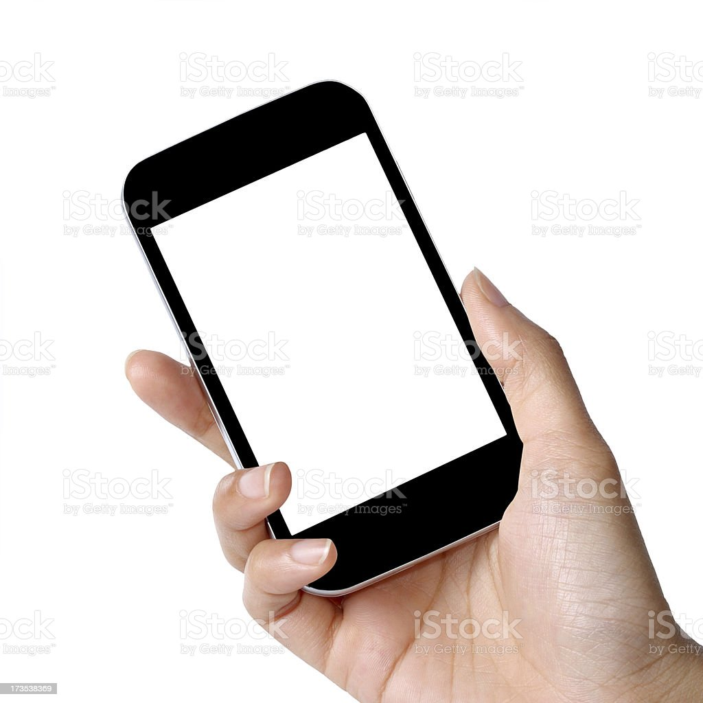 mobile phone in female hand royalty-free stock photo