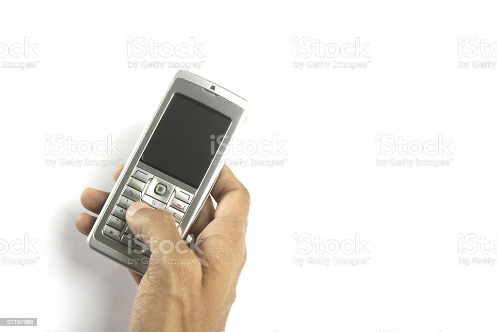 Mobile phone in hand royalty-free stock photo