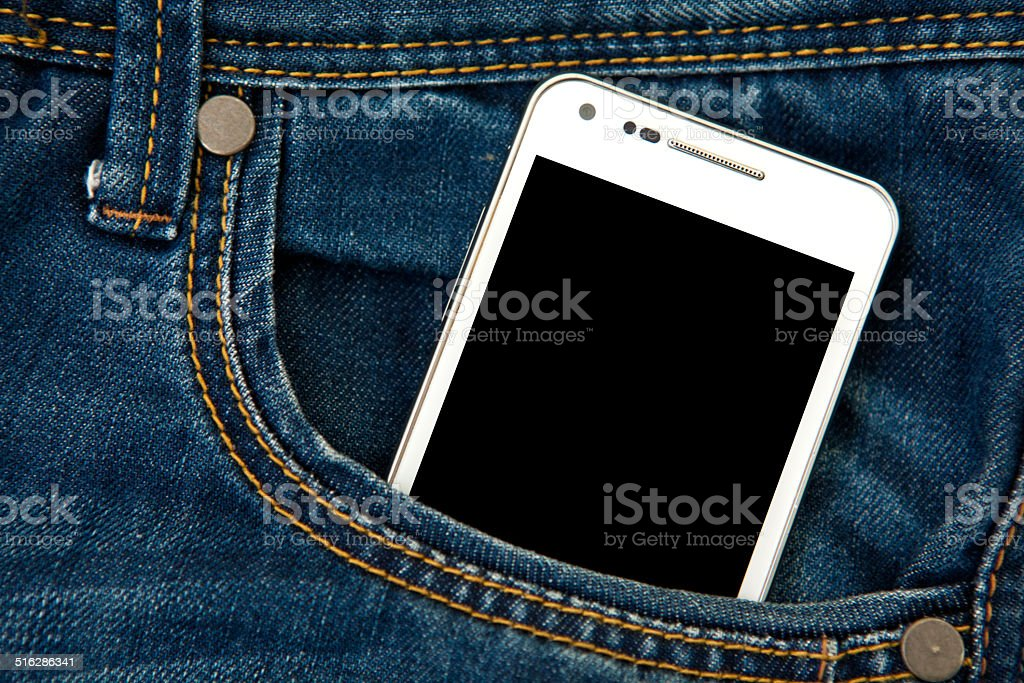 mobile phone in pocket with black screen stock photo