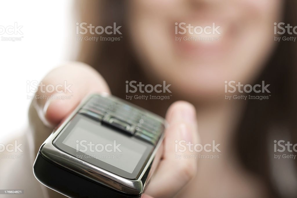 Mobile phone in women hand royalty-free stock photo