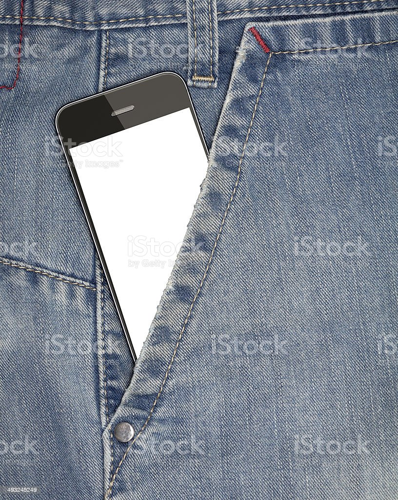 Mobile phone in your  pocket jeans royalty-free stock photo