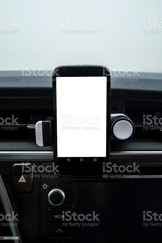 Mobile phone inside car stock photo