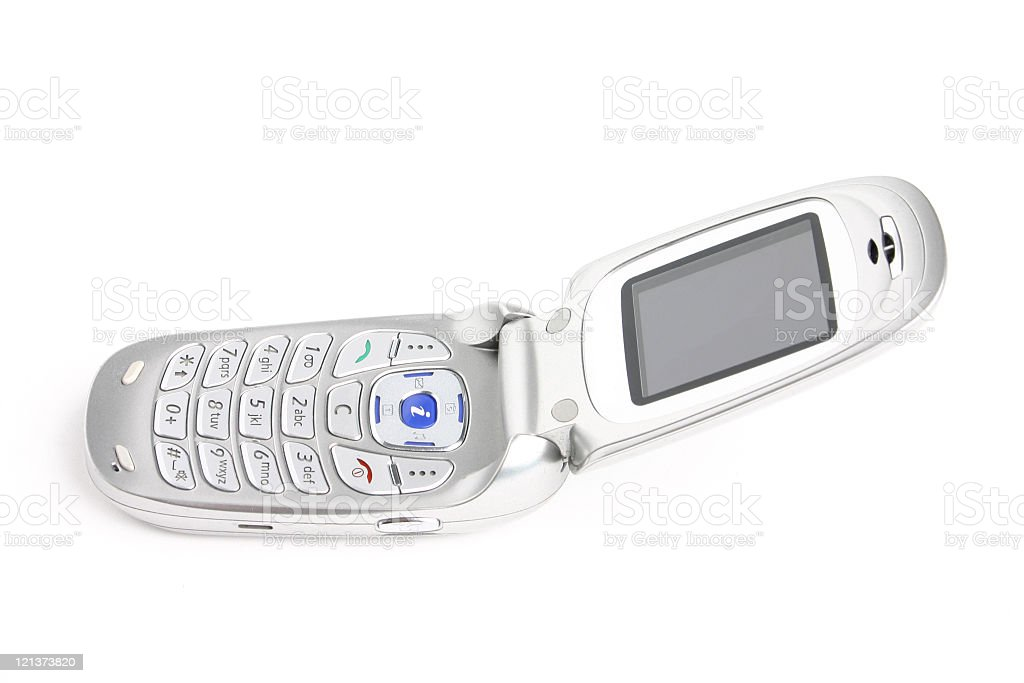 Mobile phone laying on its back stock photo