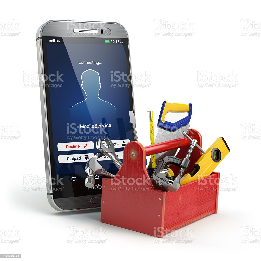 Mobile phone service concept. Online support. Smartphone  with t stock photo