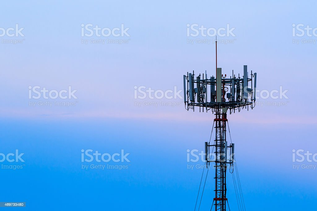 Mobile phone Telecommunication Radio antenna Tower. Telecoms cel stock photo
