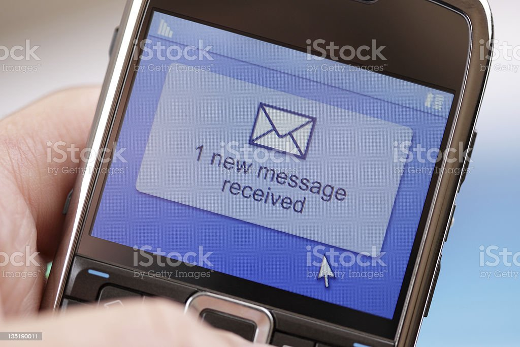 Mobile phone text message or e-mail stock photo