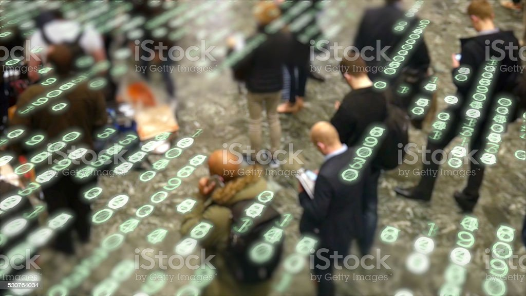 Mobile phone users. stock photo